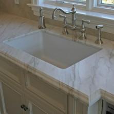 white marble undermount kitchen sink