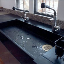Grey Soapstone Double Wide Slab Sink