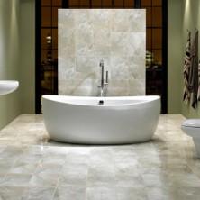 White Onyx Tile Bathroom